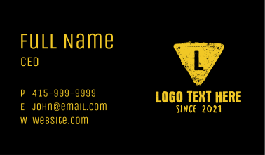 Yellow Grunge Triangle Letter Business Card