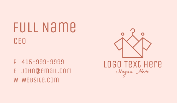 Origami Clothing Hanger Business Card