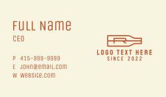 Liquor Bottle Letter R Business Card