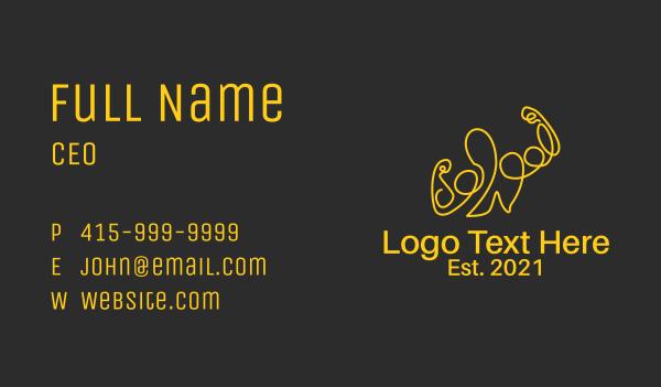 muscular - Golden Fit Muscle Man  Business card horizontal design