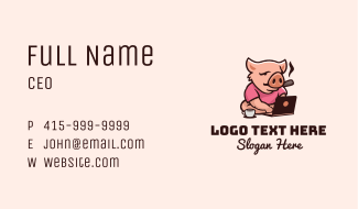 Working Laptop Pig  Business Card