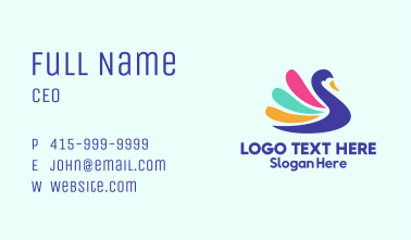 Colorful Swan Silhouette Business Card