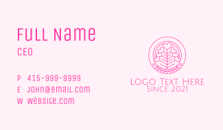 Pink Heart Plant Business Card