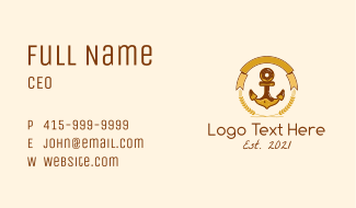 Wheat Donut Anchor Emblem  Business Card