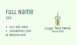 Healthy Carrot Drink Business Card