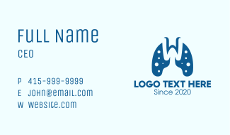 Lung Viral Disease Letter W Business Card