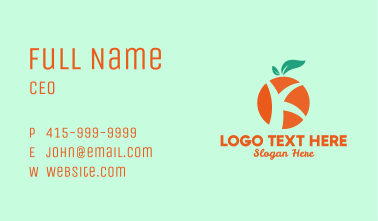 Orange  Letter K Business Card