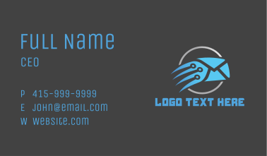 Blue Fast Mail Business Card