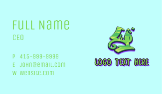 Green Graffiti Art Number 4 Business Card