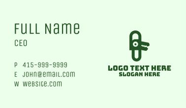 Green Alligator Clip Business Card