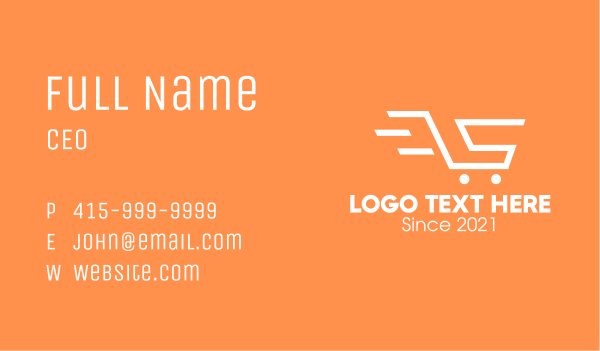 express delivery - Letter S Shopping Cart Business card horizontal design