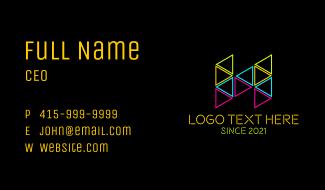 Neon Shape Letter H Business Card