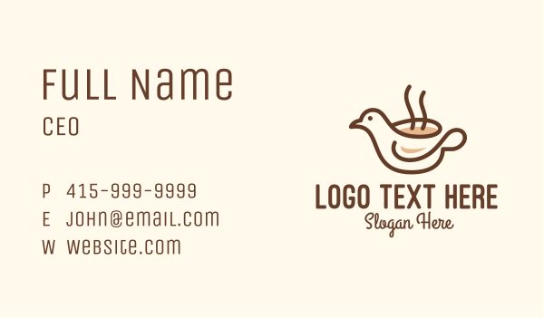 hot choco - Bird Brewed Coffee Business card horizontal design