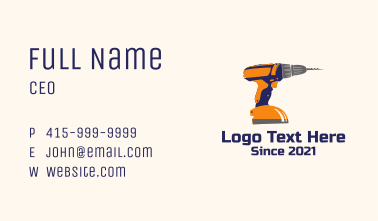 Construction Power Drill Business Card