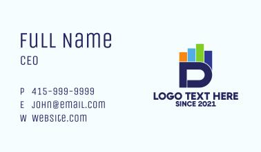 Multicolor Chart Letter D  Business Card
