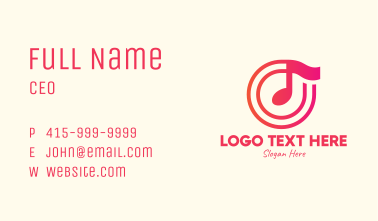 Pink Music Note Business Card