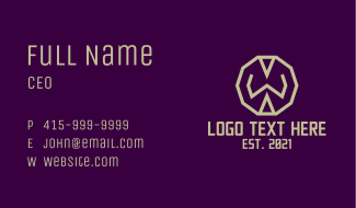Decagon Letter W Business Card