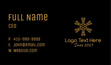 Gold Snowflake Outline  Business Card