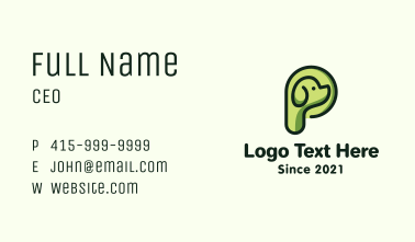 Green Dog Letter P Business Card