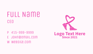 Pink Heart Sneaker Business Card