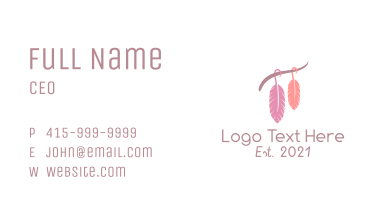 Macrame Hanging Feather  Business Card