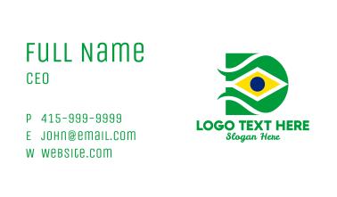 Brazil Flag Letter D  Business Card