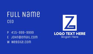 Blue Greek Letter Z Business Card