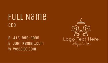 Coffee Cup Line Art Business Card