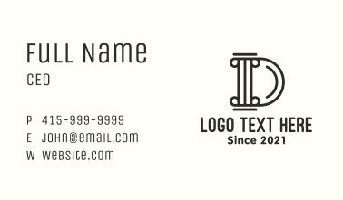 Letter D Pillar Business Card