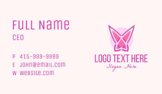 Pink Butterfly Wings Business Card