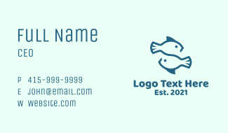 Blue Twin Fish Pisces Business Card
