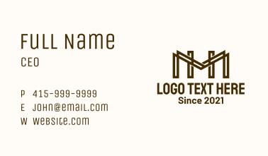 Letter HM Monogram Outline Business Card