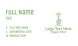 Green Guitar Outline  Business Card