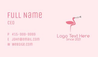Flamingo Trumpet Player  Business Card
