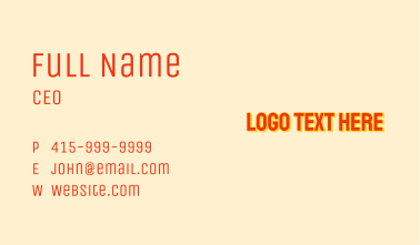 Glowing Summer Wordmark Business Card