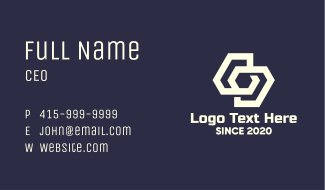 White Interlinked Shapes Business Card