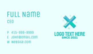 Shiny Gem Letter X Business Card