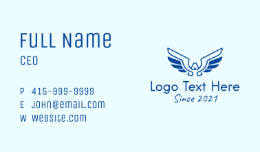 Blue Wing Letter A Business Card