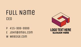 3D Pixel Letter G Business Card