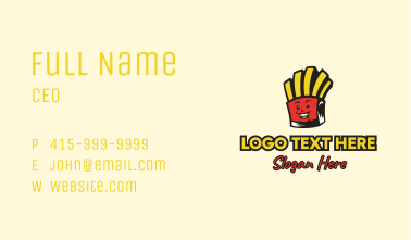 Smiling French Fries Mascot Business Card