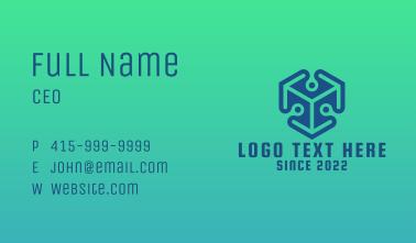 Blue 3D Cube  Business Card