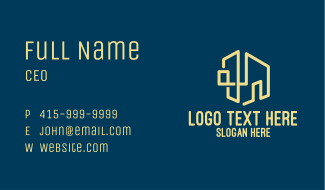 Yellow Building Outline Business Card