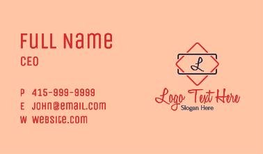 Car Shop Letter Business Card