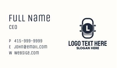 Greek Pillar Letter Badge Business Card