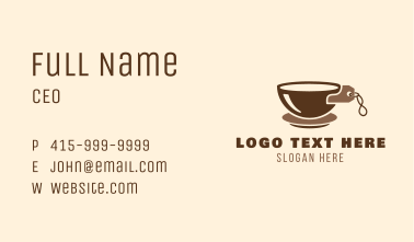 Brown Coffee Price Tag Business Card