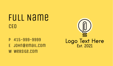 Monoline Light Bulb Business Card