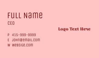 Red Romantic Beauty Wordmark Business Card