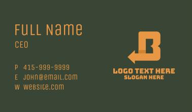Orange Left Arrow Letter B Business Card