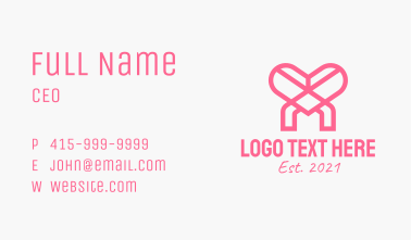 Pink Heart Charity Business Card