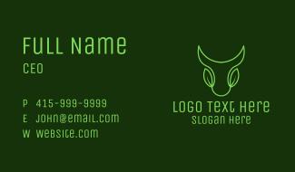 Green Leaf Bull Head Business Card